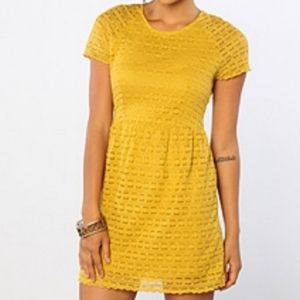 Free People Candy Woven Mustard Yellow Lace Dress